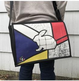 Student, Mondrian Print, Benga Rabbit, Black Vegan Leather Messenger Bag