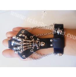 Skull Hand Bracelet Leather