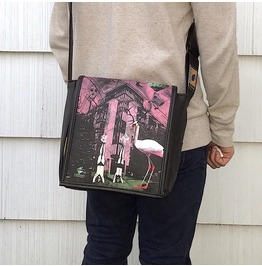 Eskimo, Wonder Pink Print, Benga Rabbit, Black Vegan Leather Messenger Bag