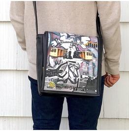 Eskimo, Traveling Print, Benga Rabbit, Black Vegan Leather Messenger Bag