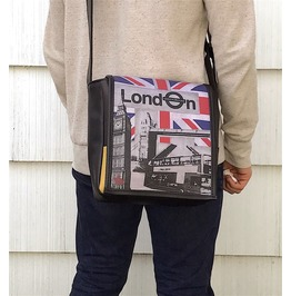 Eskimo, London Print, Benga Rabbit, Black Vegan Leather Messenger Bag