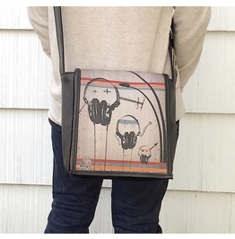 Eskimo, Headphones Print, Benga Rabbit, Black Vegan Leather Messenger Bag