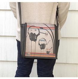 Eskimo, Headphones Print, Benga Rabbit, Black Vegan Leather Messenger Bag