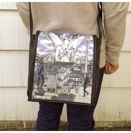 Eskimo, Angel Print, Benga Rabbit, Black Vegan Leather Messenger Bag