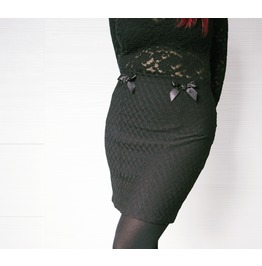 Black Gothic Stretch Pencil Mini Skirt / Gothic Skull Punk Lolita Mini Skir