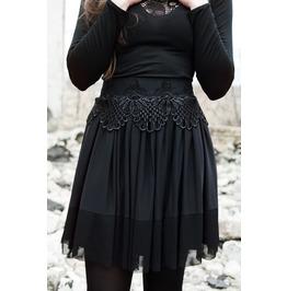 Black Lace Skirt / Lace Applique Skirt / Lace Belt Lolita Skirt