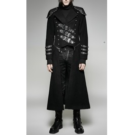 Gothic Steampunk Military Style Black Long Coat