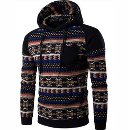 Aztec Print Patchwork Pullover Hoodie Sweatshirt