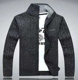 Streetwear Bold Stripe Pattern Mandarin Collar Zipper Knitted Cardigan