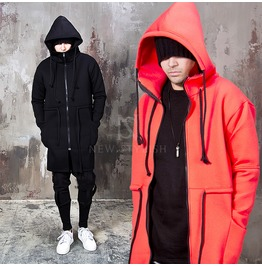 Multiple Strap Neoprene High Neck Long Zip Up Hoodie 122