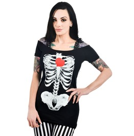 Women's X Ray Heart Graphic Fitted Tee