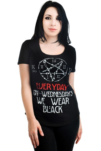 Women's Occult Wear Black On Wednesday Tee