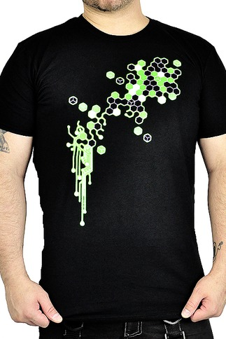 Cryoflesh Black Light Reactive Graphic Cyberpunk T Shirt