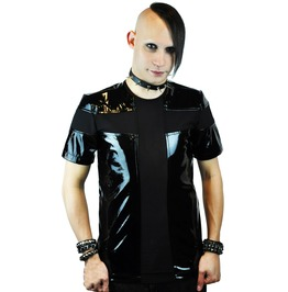 Cryoflesh Men's Vinyl Short Sleeve Shirt With Power Mesh Details