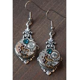 Steampunk Earrings With Blue Zircon Swarovski Crystal