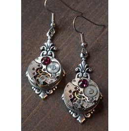Steampunk Earrings With Ruby Red Swarovski Crystal