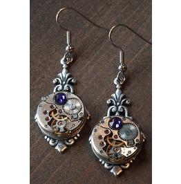 Steampunk Earrings With Heliotrope Swarovski Crystal
