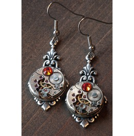 Steampunk Earrings With Fire Opal Swarovski Crystal