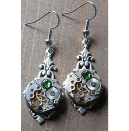 Steampunk Earrings With Fern Green Swarovski Crystal