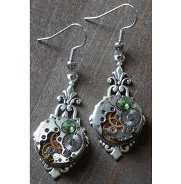 Steampunk Earrings With Peridot Green Swarovski Crystal