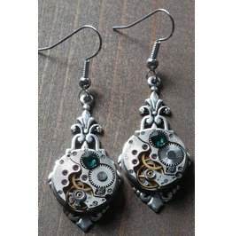 Steampunk Earrings With Emerald Green Swarovski Crystal