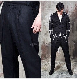 Unique Belted Black Classic Slacks 127
