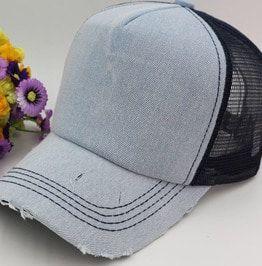 c744a645e07 Denim Wash Mesh Trucker Hat Men Women Baseball Caps. More colors