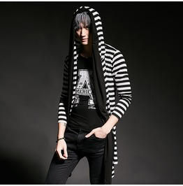 New Men's Striped Hooded Open Front Cardigan Cape Tops