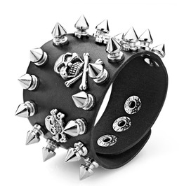 Punk Rock Biker 3 Skeleton Skull Spikes Rivet Wide Cuff Pu Leather Bracelet
