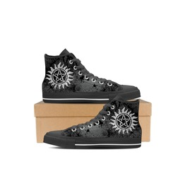 Occult Print Canvas High Top Sneakers For Women.