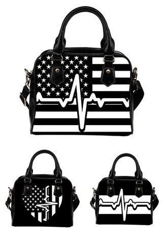 Heartbeat Of America Graphic Print Faux Leather Handbag