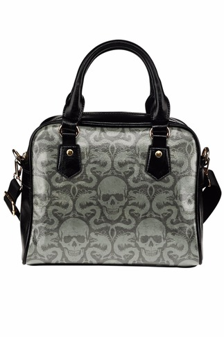 Skull And Dragon Print Faux Leather Black And Grey Handbag