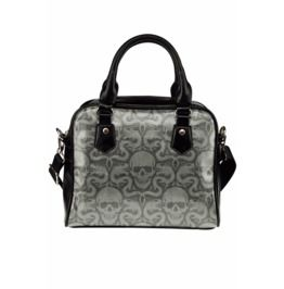 dc3567feeea3 Skull And Dragon Print Faux Leather Black And Grey Handbag