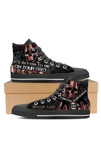 Skull Sneakers Die On Your Feet Not On Your Knees Mens Canvas Shoes