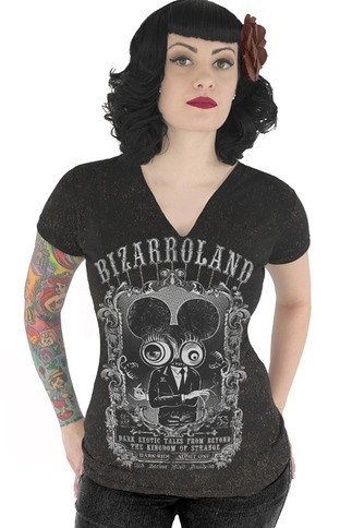 Black Psychobilly V Neck Graphic T Shirt