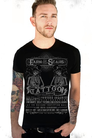 Black And Grey Modern Goth Men's Skeleton Tee