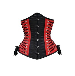Black And Red Strappy Steel Boned Corset Top