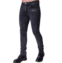 Zipper Pocket Stretchy Motorcycle Biker Washed Denim Jeans