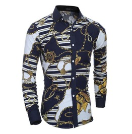 Men Shirt Black / Blue Color Long Sleeve Shirt Men's Casual