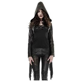 Women's Tassel Rivets Multi Zipper Short Leather Hooded Jacket Y 667