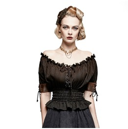 Steampunk Classical Slash Neck Elastic Waist Tops T444