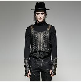 Steampunk Army Uniform Interlocks Stringing Faux Leather Vest Y725