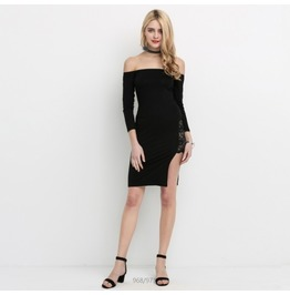 New Fashion Sexy Women Black Off Shoulder Bodycon Dress