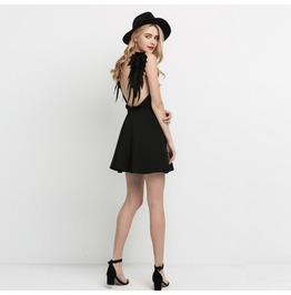 New Summer Fashion Women's Black V Neck Strap Dresses