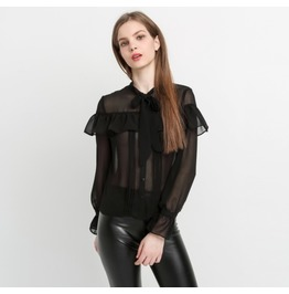 New Arrival Fashion Black See Through Chiffon Blouse Tops