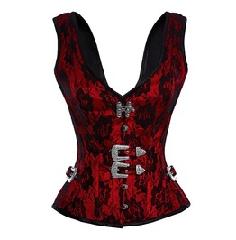 Red And Black Lace Floral Corset Top With Silver Accents