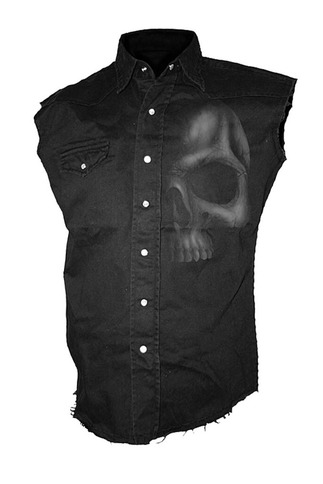 Men's Sleeveless Skull Button Up Shirt