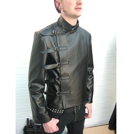 Leather Buckle Jacket Mens Fetish Cyber Punk Gothic Clubwear Men Veggie