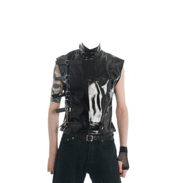 Gothic Pvc Mens Jacket Sleeveless Top Cyber Fetish Men Fantasy Jacket Sci F