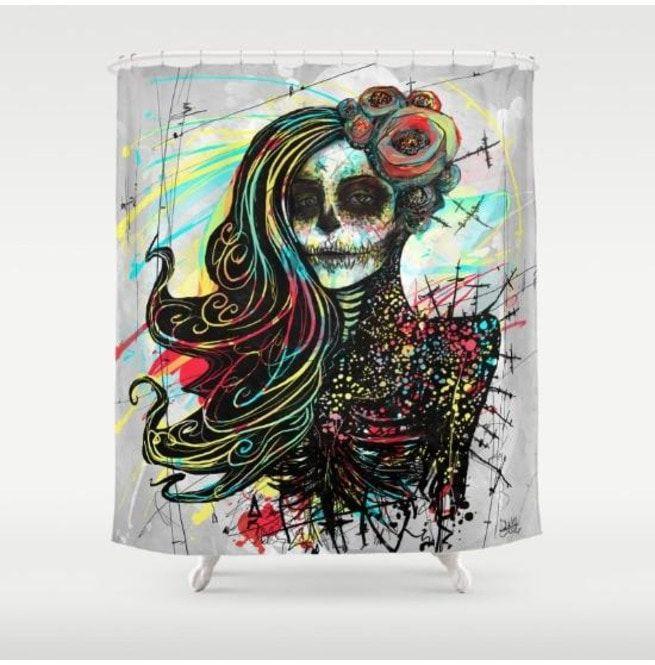 Decorative Home Decor Lady Skull Shower Curtain Skulls